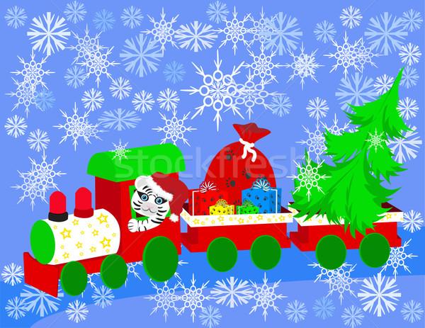 Photo stock: Noël · train · arbre · cadeaux · fond · fumée