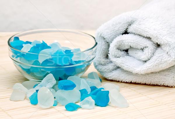Stockfoto: Handdoek · bad · spa · lichaam · Blauw · massage