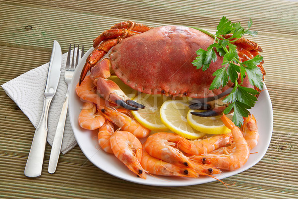 Crab with shrimp and parsley on a wooden table  Stock photo © g215