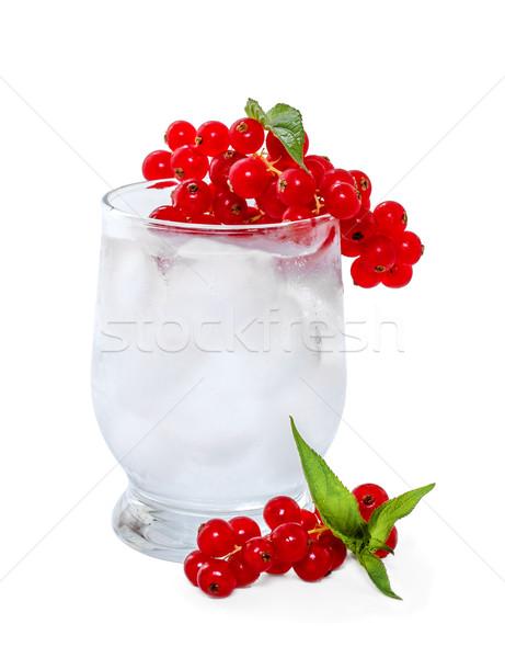 Foto stock: Soda · gelo · vermelho · branco · água · frutas