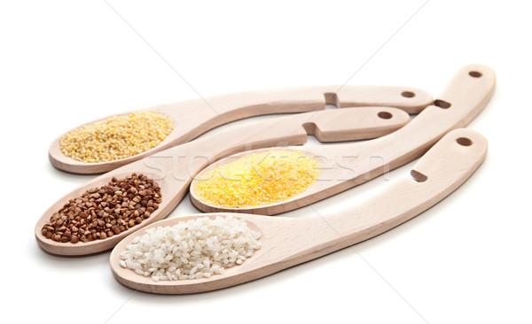 Set cereali dieta sana salute sfondo verde Foto d'archivio © g215