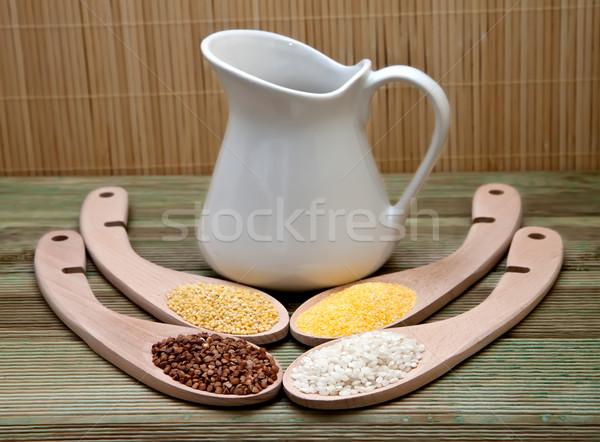 Szett gabonafélék egészséges étrend kancsó tej egészség Stock fotó © g215
