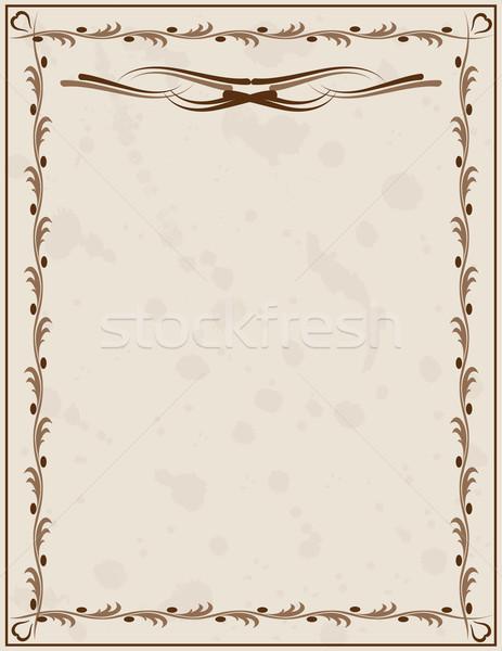 Eski kağıt süs kâğıt arka plan çerçeve güzellik Stok fotoğraf © g215
