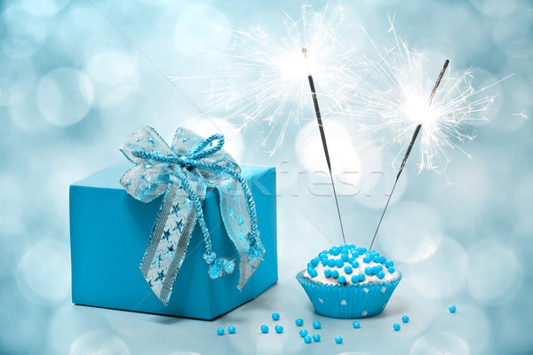 Astonishing Birthday Cake With Sparkler And T Stock Photo C Galina Funny Birthday Cards Online Inifodamsfinfo