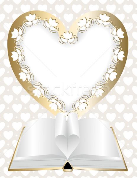 Photo stock: Cadre · forme · coeur · livre · ouvert · bébé
