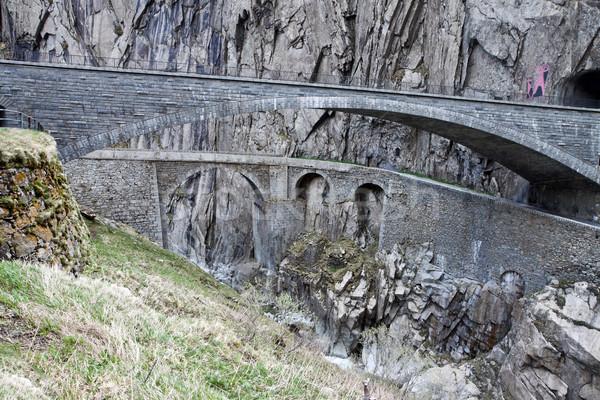 Devil's bridge at St. Gotthard pass, Switzerland. Alps. Europe  Stock photo © g215