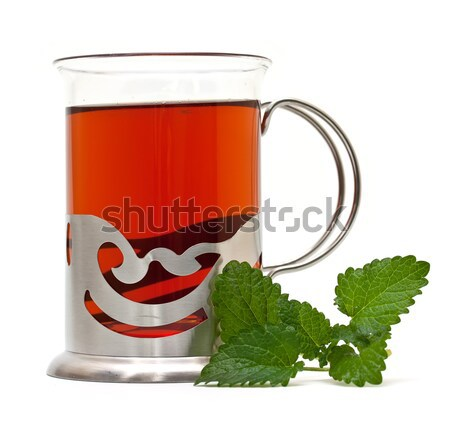 Chá vidro limão bálsamo fundo verde Foto stock © g215