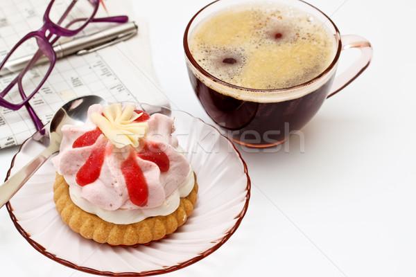 Zdjęcia stock: Kubek · herbaty · kawałek · ciasto · żywności · śniadanie