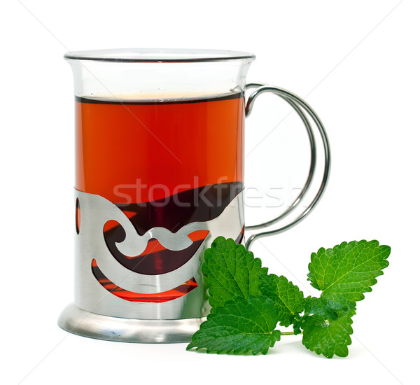 Thé verre citron baume eau feuille Photo stock © g215