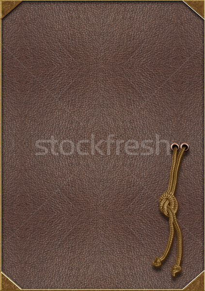 The texture of the skin with gold lettering and a rope tied in a Stock photo © g215