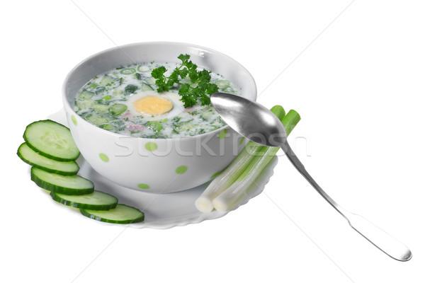 Stock fotó: Nyár · hideg · leves · zöldségek · fehér · étel