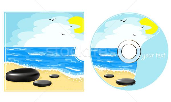компакт-диск Label морем мнение пляж воды Сток-фото © g215