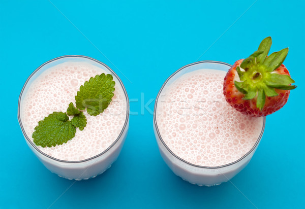 Aardbei Blauw voedsel achtergrond melk eten Stockfoto © g215