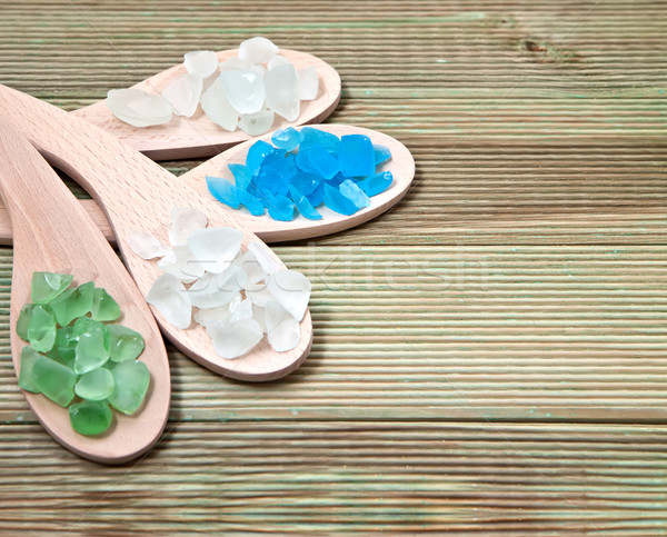 Different types of bath salts in a wooden background. Stock photo © g215
