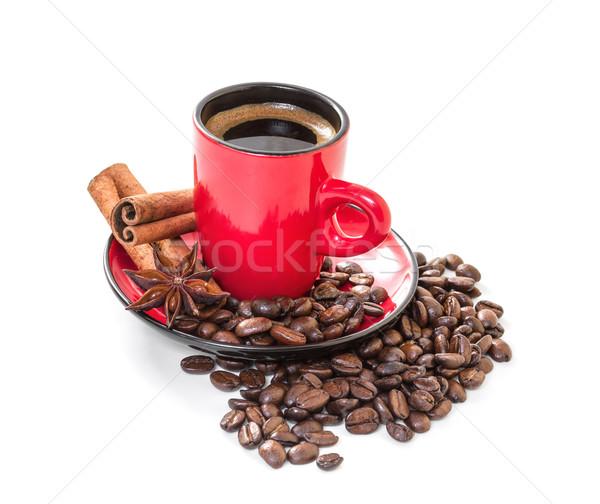 кофе красный Кубок корицей анис звезды Сток-фото © g215