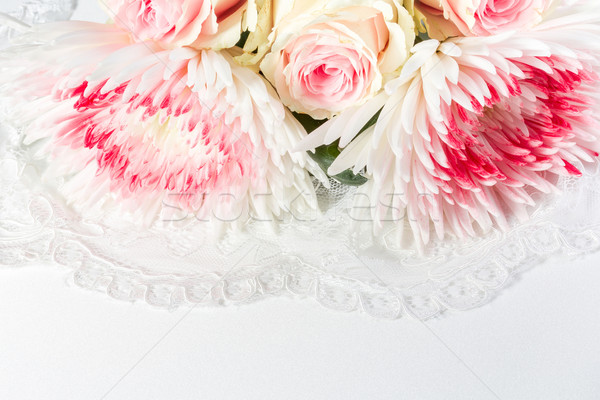 Wedding background with roses and lace Stock photo © g215