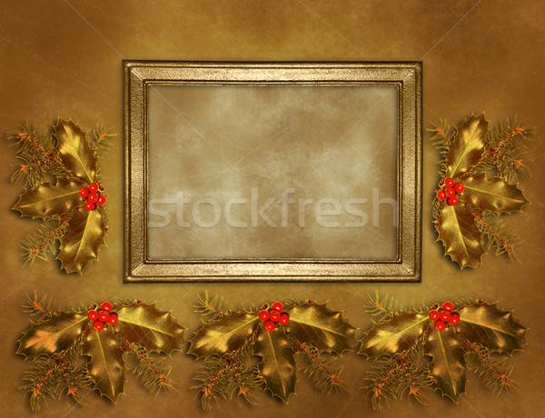 Picture frame on the old wall with Christmas ornament Stock photo © g215