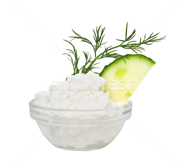 Coarse-grained cottage cheese with fennel and a cucumber. Isolat Stock photo © g215