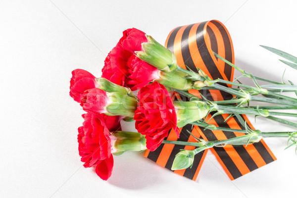 Rot Nelke Band Blume Liebe Hintergrund Stock foto © g215