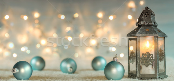 Christmas background with lantern and balls. Panoramic image Stock photo © g215
