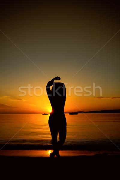 силуэта закат небе девушки стороны Сток-фото © g215
