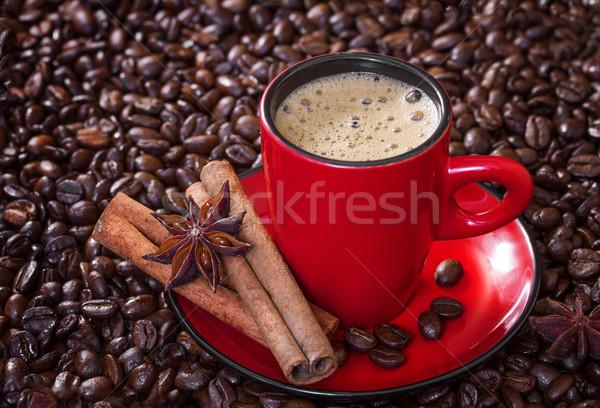 Сток-фото: кофе · красный · Кубок · корицей · анис · звезды