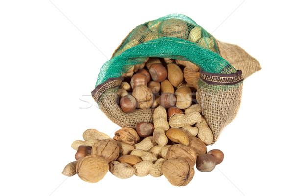 смесь орехи мешок изолированный белый продовольствие Сток-фото © g215