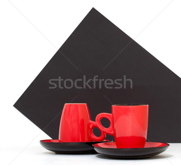 красный кофейные чашки черный Бар кафе объект Сток-фото © g215