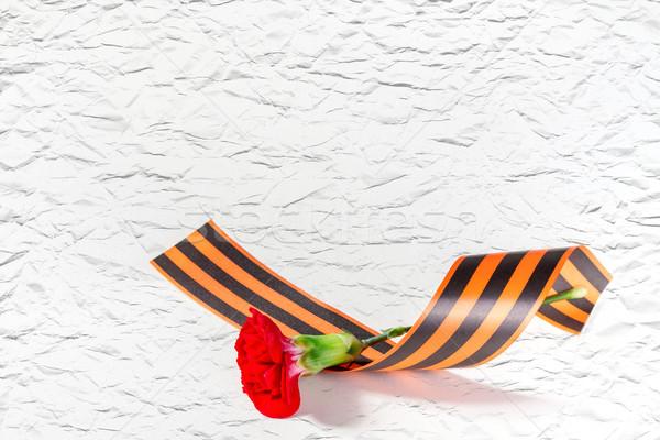 красный гвоздика лента цветок любви фон Сток-фото © g215