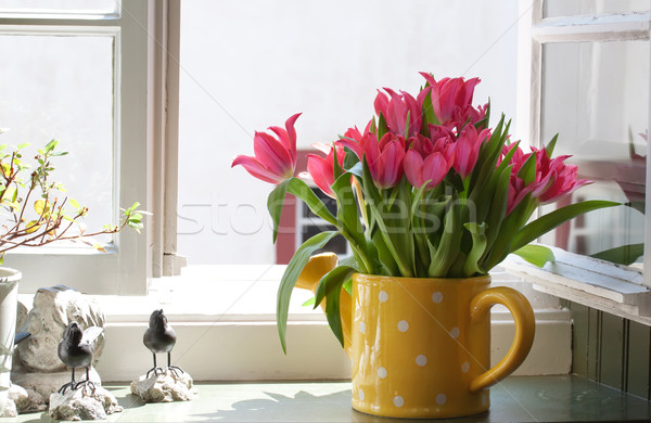 bouquet of tulips on the windowsill Stock photo © g215