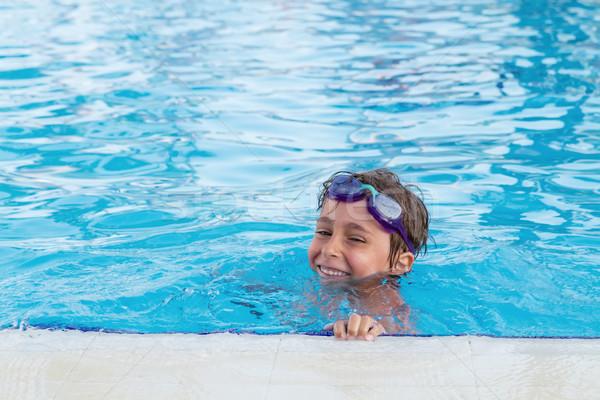 Portré fiú medence víz mosoly sport Stock fotó © g215