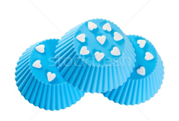 Blu silicone cottura coppe isolato bianco Foto d'archivio © g215