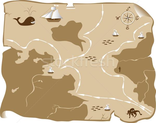 Haritaları soyut vektör deniz seyahat boyama Stok fotoğraf © g215