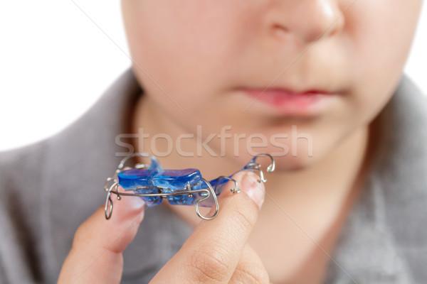 子 歯列矯正の アプライアンス 少年 手 医療 ストックフォト © g215