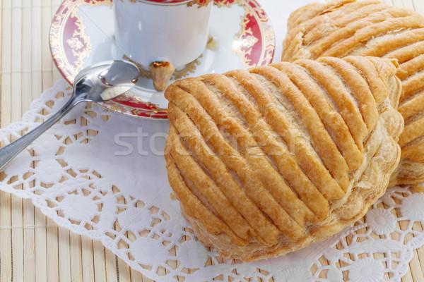 Frans plaat diner vork dessert Stockfoto © g215