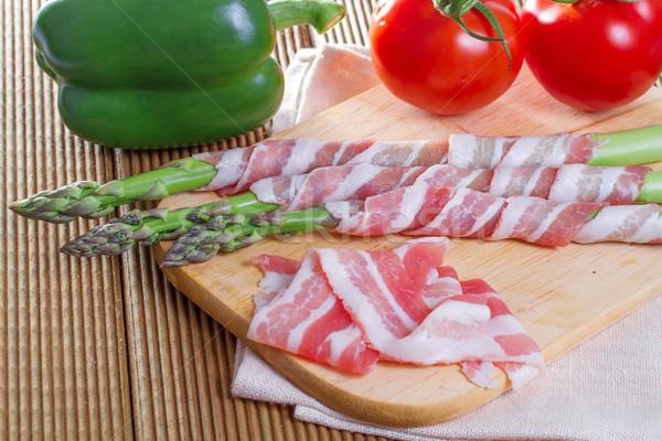 Stock fotó: Szalonna · spárga · fából · készült · étterem · vacsora · piros