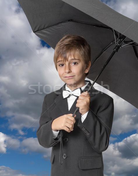 少年 傘 空 男 自然 雨 ストックフォト © g215