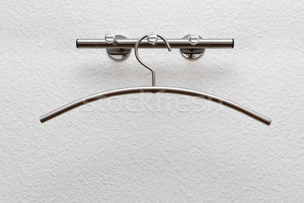 Kleerhanger witte muur draad doek object Stockfoto © g215