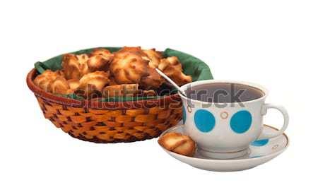 Kekszek tea izolált fehér étel csokoládé Stock fotó © g215