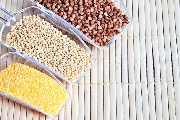 Foto stock: Conjunto · cereais · dieta · saudável · saúde · fundo · verde