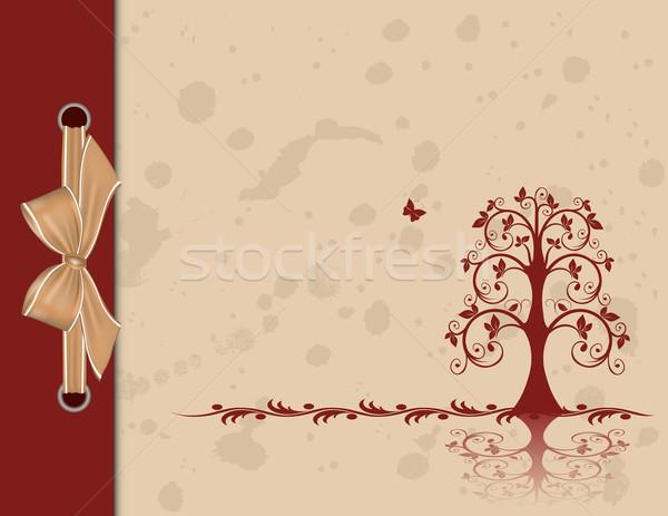 Openwork tree on vintage background Stock photo © g215