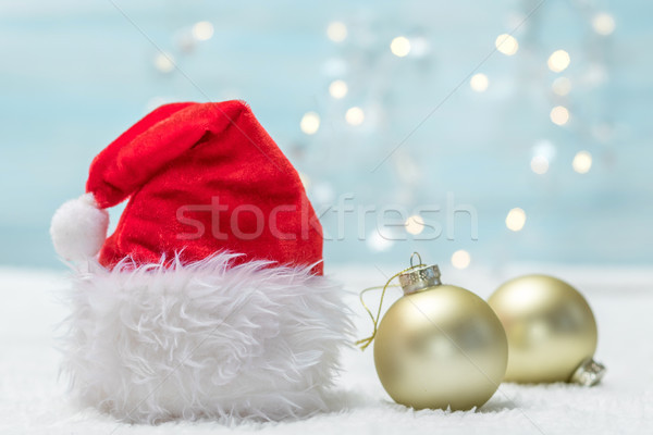 Vakantie kerstman hoed sneeuw achtergrond ruimte Stockfoto © g215