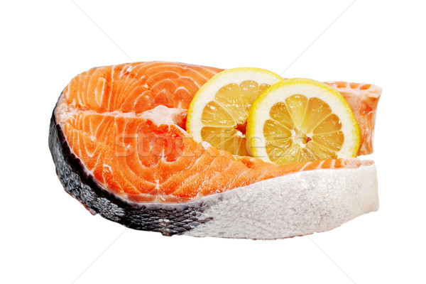 Salmon fillets with lemon on a white background  Stock photo © g215