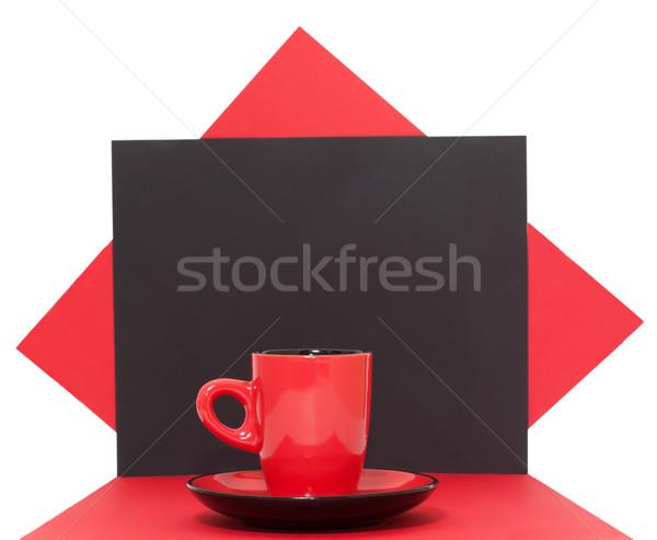Piros kávéscsésze fekete bár kávézó tárgy Stock fotó © g215