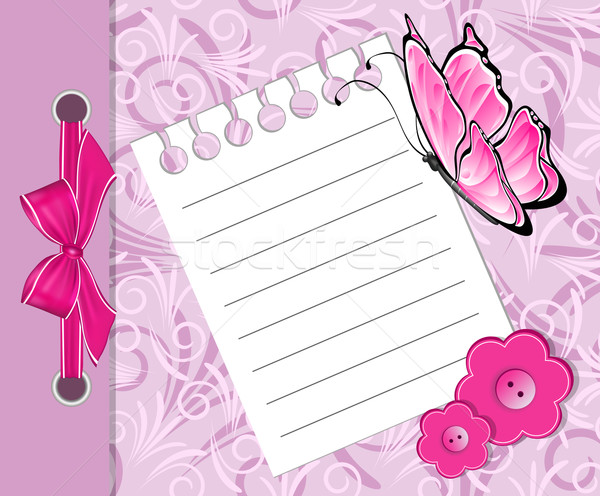 Varış duyuru kart kelebek kız Stok fotoğraf © g215