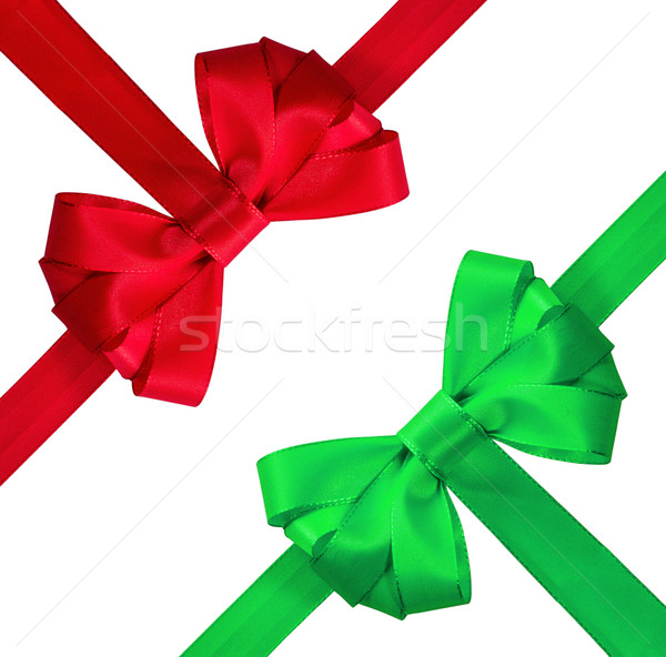Red and green bow isolated on white background Stock photo © g215