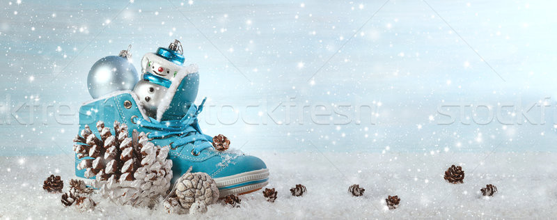 Christmas background with boots and Christmas decorations. Panor Stock photo © g215