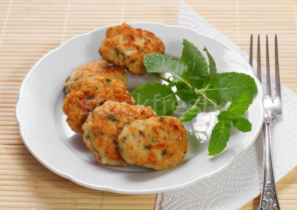 Stockfoto: Kip · hamburger · mint · voedsel · restaurant · olie