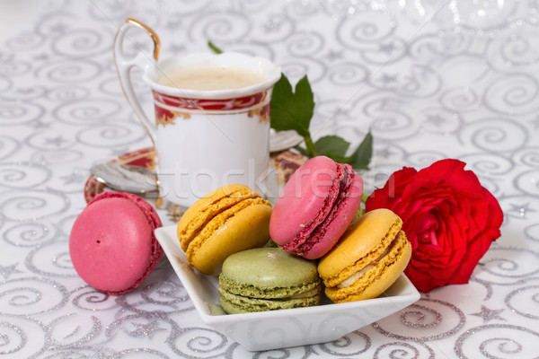 French macarons with coffee and flowers Stock photo © g215