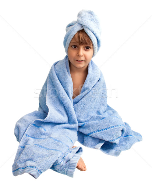 A little boy in the towel, isolated on a white background  Stock photo © g215